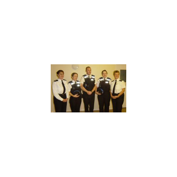 The Police TeamChief Superintendent Ann Wakefield, three of Eastleigh new PCSOs and Chief Inspector Diana Boyles