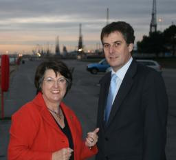 Catherine Bearder MEP and David Goodall by Southampton Docks