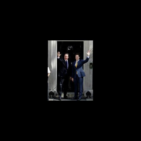 David Cameron & Nick Clegg enter No.10