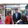 David Goodall and Catherine Bearder MEP discussing issues with market traders in Bitterne, Southampton
