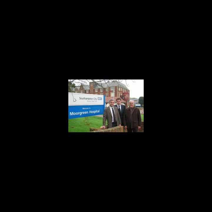 Chris Huhne MP, Cllr David Goodall and Cllr Tony Noyce outside the threatened Moorgreen Hospital