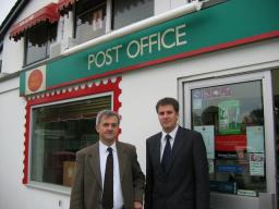 Cllr David Goodall and Chris Huhne MP outside West End Post Office
