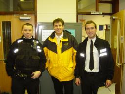 Cllr David Goodall with the Police at 3am after an evenings patrol with Dave & Rich still smiling