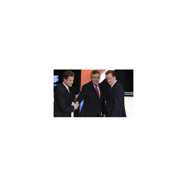 Gordon Brown, centre, and Conservative party leader, David Cameron, right, hope Liberal Democrat leader Nick Clegg's policy on immigration will prove an achilles heel. Photograph: Reuters