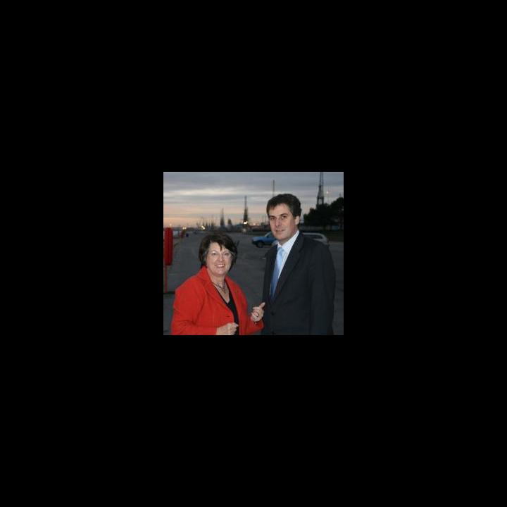 Catherine Bearder MEP and David Goodall by Southampton Docks