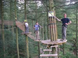 A fun treetop adventure course
