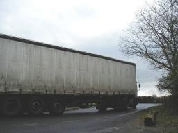 HGV leaving Burnetts Lane on the wrong side of the road as usual